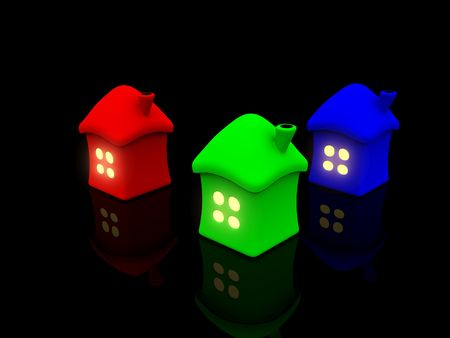 RGB homes with light in window. 3d photo