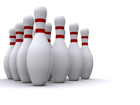 bowling pins. 3d Stock Photo