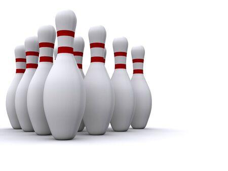 bowling pins. 3d Фото со стока
