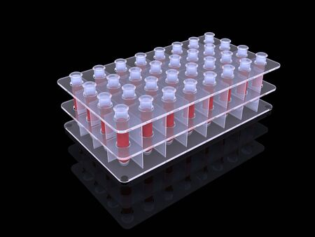 a substance vial: blood in test tube. 3d