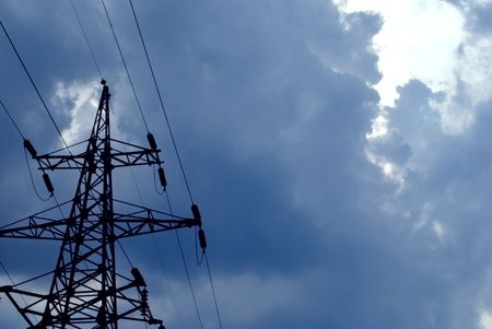 superconductor: high-voltage lines. electricity wires. Sky