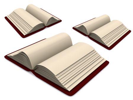 libros abiertos: libros abiertos. 3D en blanco Foto de archivo