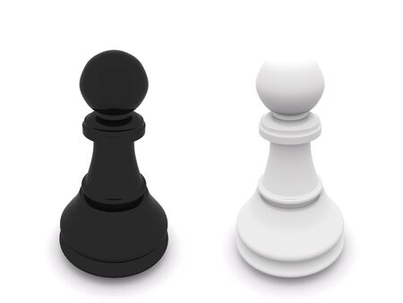 black and white pawns isolated on white. 3D chess Stock Photo - 5493537