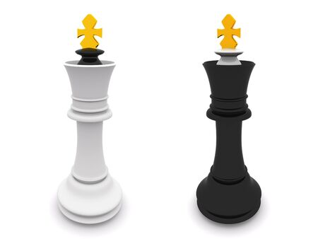 black and white kings isolated on white. 3D chess Stock Photo - 5493548