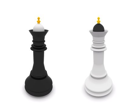 black and white queens isolated on white. 3D chess Stock Photo - 5493546