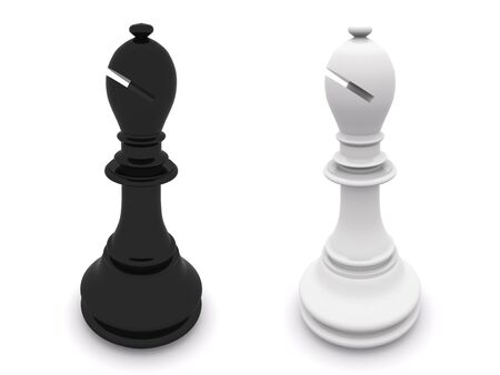 white and black bishops. 3d chees Stock Photo - 5493542