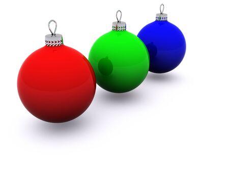 RGB christmas glass spheres. 3d photo