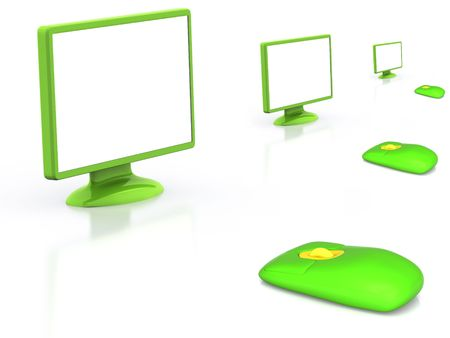 scrollwheel: LCD monitor with mouse. 3D Stock Photo
