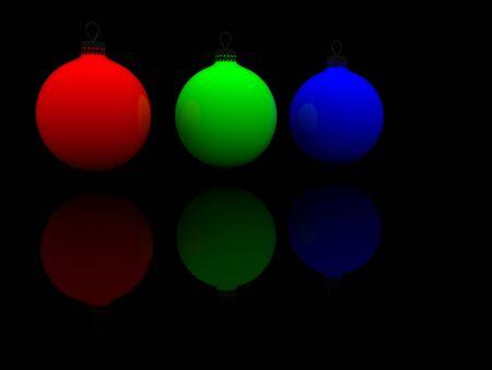 christmas glass spheres. 3d photo