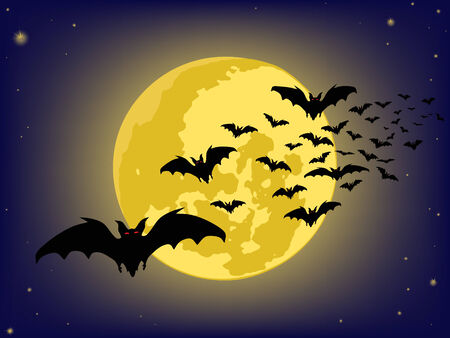 superstitious: halloween sfondi. pipistrelli silhouette. Vector