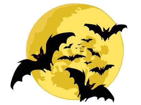 halloween tła. sylwetki nietoperzy. wektor Ilustracja