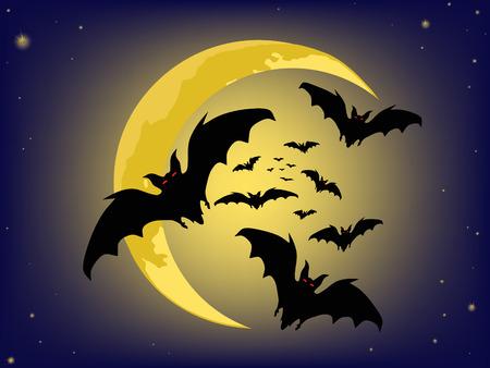 hallows': halloween backgrounds. bats silhouette . vector