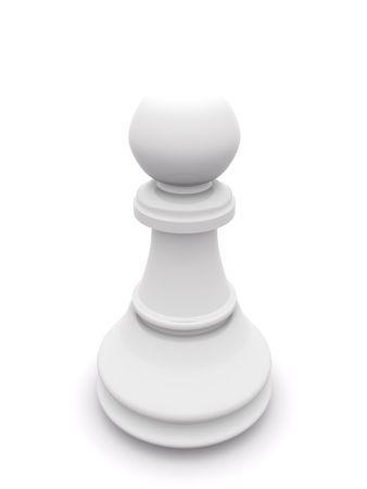 white pawn isolated on white. 3D chess Stock Photo - 5554003
