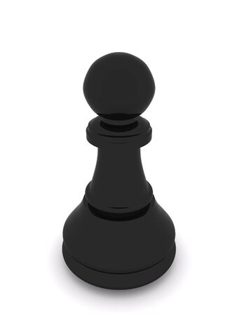 black pawn isolated on white. 3d chees Stock Photo - 5553976