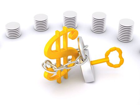 diagram with dollar sign. 3d Stock Photo - 5554014