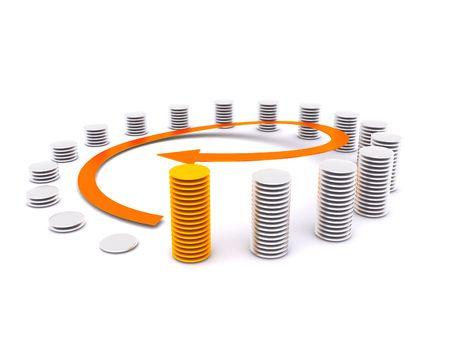 around finance diagram. 3d photo