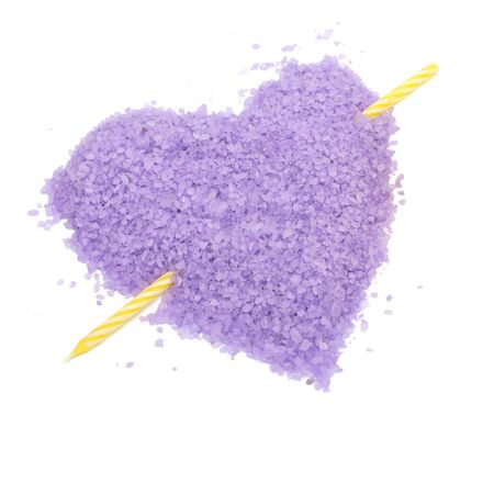 broken through: heart it is broken through of love. Violet salt and candle