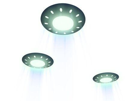 three flying ufo. 3D Stock Photo - 5613438