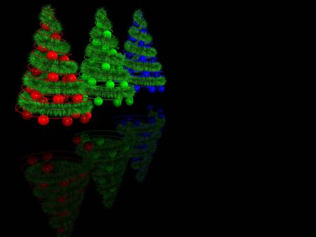 abstract spiral christmas tree with decoration. 3d photo
