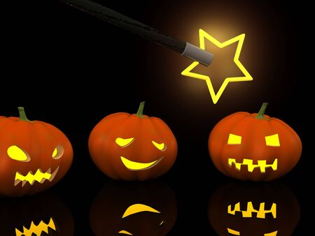 hocus pocus: three halloween pumpkins with magic wand. 3d