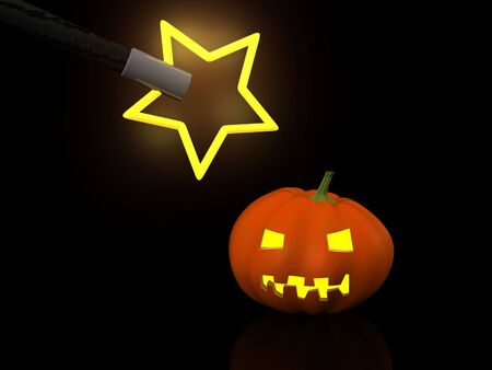 hocus pocus: one halloween pumpkins with magic wand. 3d Stock Photo