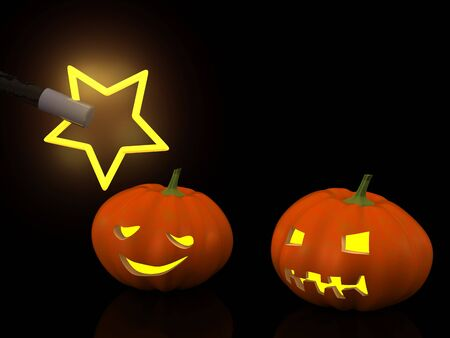 hocus pocus: two halloween pumpkins with magic wand. 3d