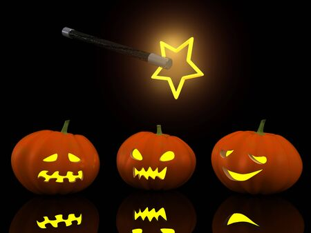 three halloween pumpkins with magic wand. 3d photo