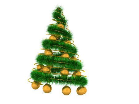 abstract spiral christmas tree with decoration. 3d Stock Photo - 5635271