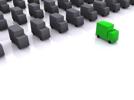 green leadership of cars. 3d photo