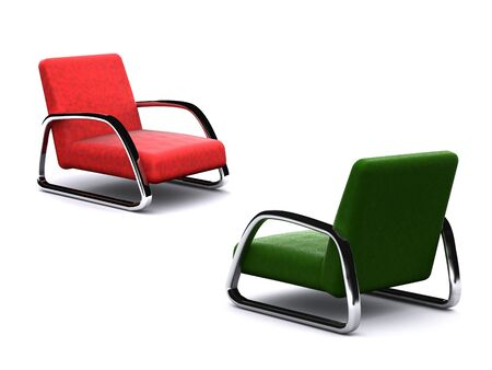 two different colores armchairs. 3D photo