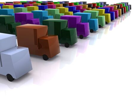 motorists: row of different colores cars. 3d