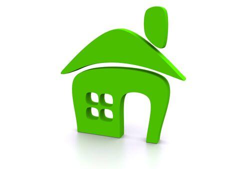 zielony kształt z domu. samodzielnie na biały