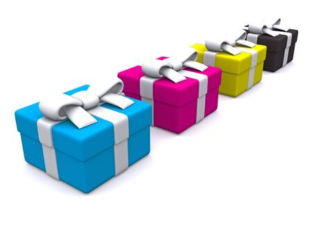 CMYK gift boxes. 3D