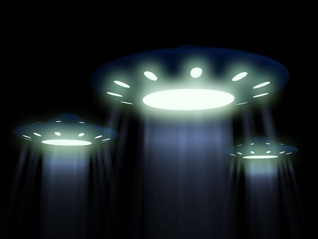 spacecraft: flying UFO. 3D Stock Photo