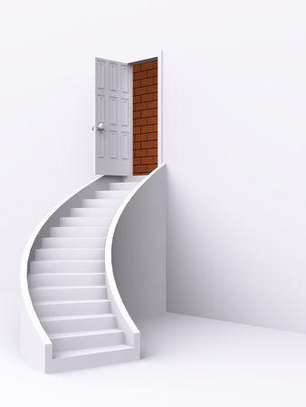 stair with open door. 3d photo