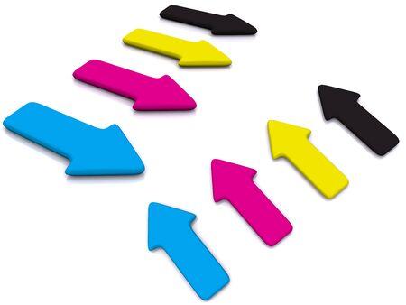 raytracing: CMYK pointers. 3d arrow Stock Photo