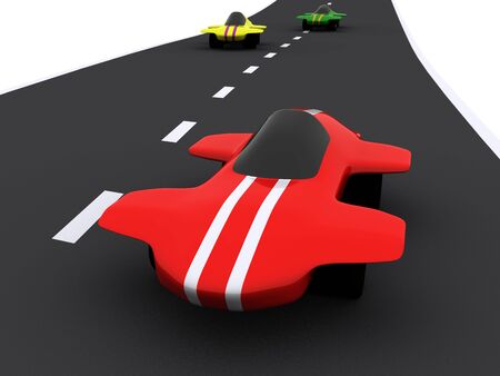 3d mode: competition of abstract sport cars. 3d
