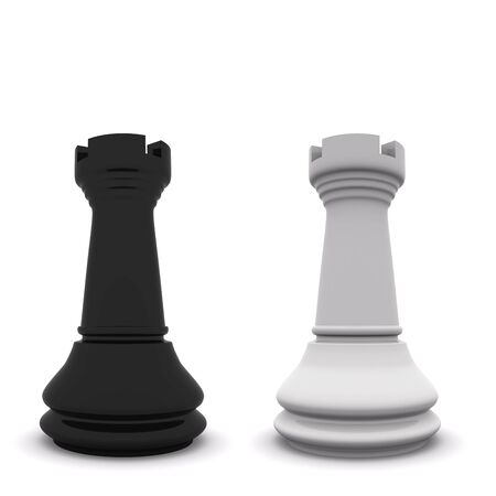 black and white rooks isolated on white. 3D chess Stock Photo - 6121318
