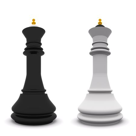 black and white queens isolated on white. 3D chess Stock Photo - 6121316
