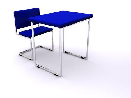school desks with board. 3d