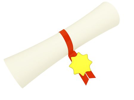 diploma in scroll on white. 3d Stock Photo - 6121308