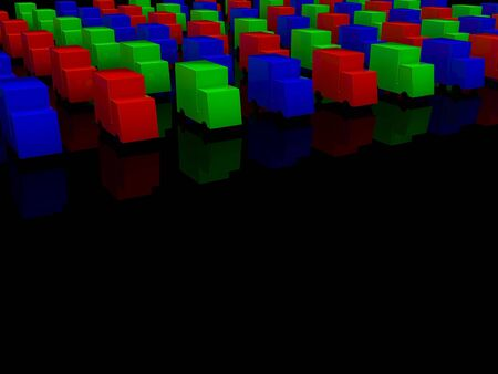 motorists: row of colored RGB cars. 3d