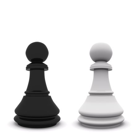 black and white pawns isolated on white. 3D chess Stock Photo - 6121320