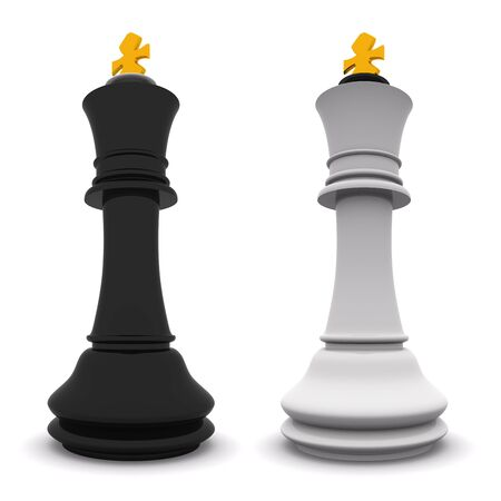 black and white kings isolated on white. 3D chess Stock Photo - 6121324