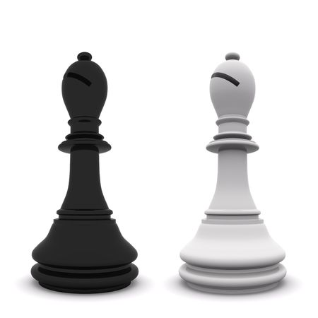 black and white bishops isolated on white. 3D chess photo