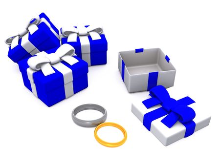gift boxes with rings. 3D photo