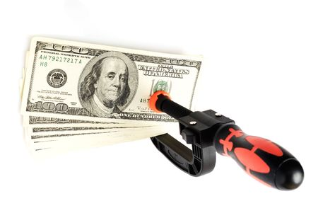 lugworm: plastic clip with dollars on white Stock Photo
