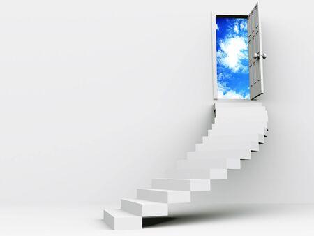schodów do otwarcia drzwi. 3D