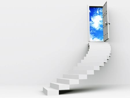 stair to open door. 3d photo