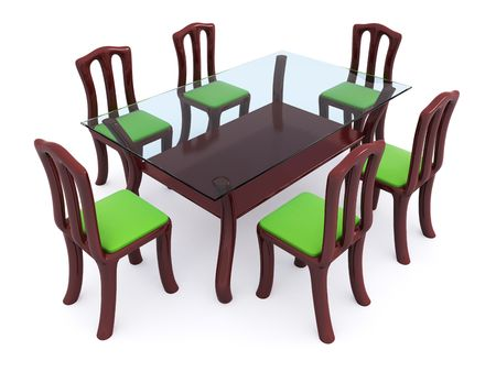 glass dining table with chairs. 3d Stock Photo - 6312601